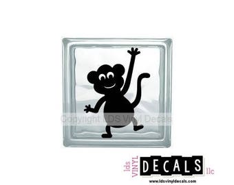 Monkey - Animal and Pet Vinyl Lettering for Glass Blocks - Wildlife Craft Decals
