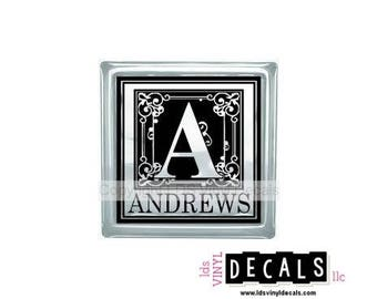 Personalized Decorative Alphabet Monogram   - Vinyl Lettering for Glass Blocks - Craft Decals