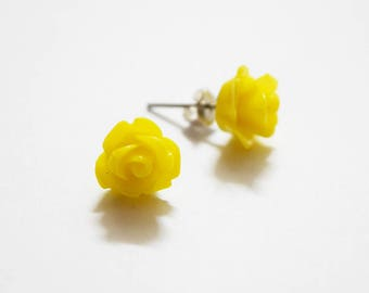 Super Cute Yellow Rose Design Silver Plated Stud Earrings