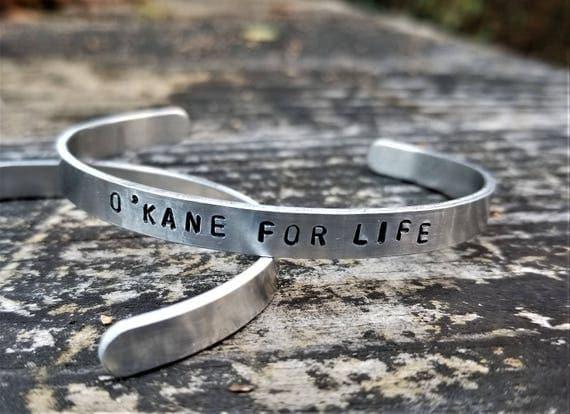O'Kane for Life: Hand Stamped Metal Cuff Bracelet, Aluminum