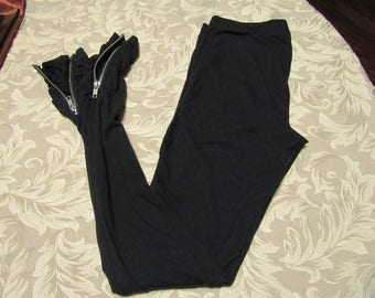 Black Leggings with Zippered Ruched Ankle - Size XS