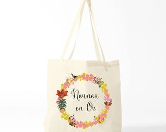 Tote bag, french quote, thank you nanny, pink version.