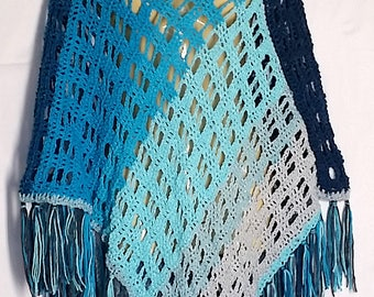 Blue Gray Mandala Poncho Cape Boho Hippie Soft Crochet Fringed XS S M L XL 1X