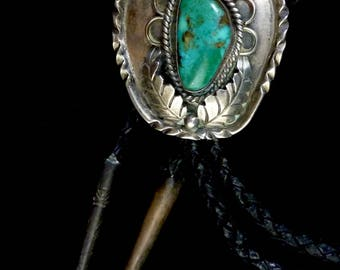 39g Vintage Navajo Sterling Silver Bolo Tie w Wonderful Royston Turquoise and Fabulous Silversmithing Details by Melvin Thompson!