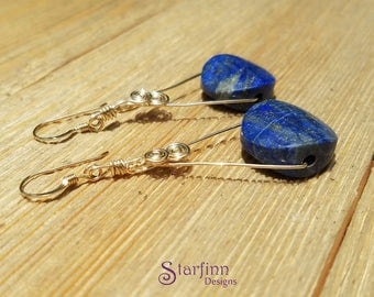 Lapis Lazuli Earrings for Women, Brilliant Blue Lapis Pendant, Blue and Gold Wire Wrap, Lapis and Gold Earrings, Gold Wire Jewelry