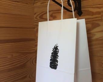 Medium White Shopping Bag with Longleaf Pinecone