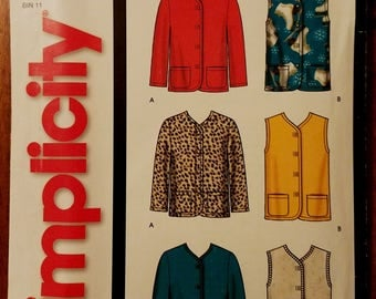 Simplicity 5841 - Misses Jacket and Vest Pattern - Sizes Extra Small, Small, Medium, Large, and Extra Large - Easy