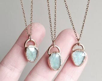 Moss Aquamarine Necklace // Aquamarine Jewelry For Her Raw Crystal Necklace Aquamarine Pendant Bohemian Jewelry Electroformed Jewelry