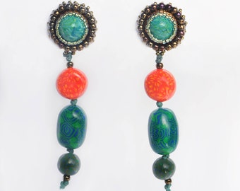 Earrings Novelove#Pendant Earrings with Handmades orange and green Beads #Vintagestyle #Italian style jewel # gift for a woman #stylish