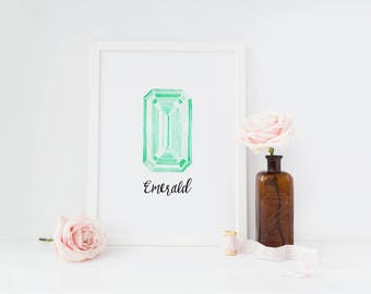 emerald may birthstone printable · collection one · birthstone art · gemstone print · watercolor emerald sign · home decor · nursery print