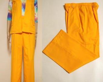 Vintage 70s Suit 2 Piece Vest Pants Flares Trousers Yellow Loud Retro Flared High Waist Vtg 1970s Size S
