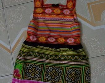 Girl Vietnam Hmong Embroidered Hemp Dress
