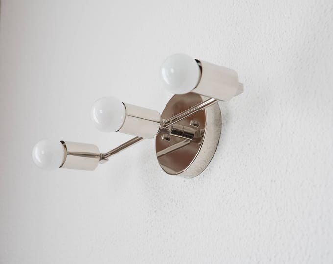 Free Shipping! Wall Sconce Bathroom Vanity Polished Nickel 3 Light Modern Mid Century Industrial Art Light Bathroom Chrome UL Listed