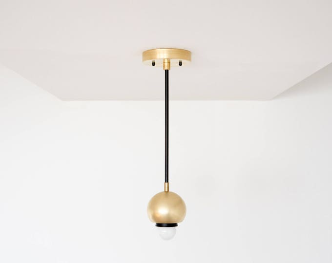 Free Shipping! Matte Black and Brass Gold Pendant Light Sphere Metal Shades Vanity Modern Mid Century Industrial