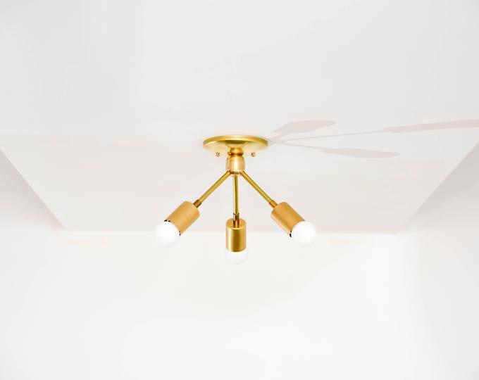 Modern Chandelier Gold Raw Brass 3 Bulb Angled Sputnik Mid Century Semi Flush Industrial Light Modern UL Listed