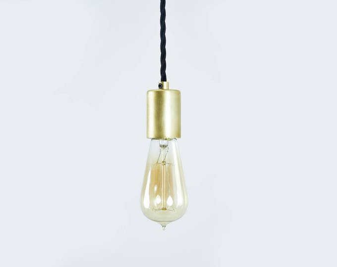 Sale! In Stock! Gold Industrial Pendant Light Bare Bulb Socket Brass Edison Bulb Canopy Twisted Black Rayon Cloth Covered