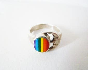 RAINBOW Ring Vintage Unusual Sterling Silver Inlaid Colored Rainbow Crescent Moon Ring Pride Collection