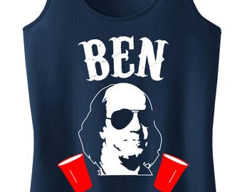 BEN DRANKIN 4th of JULY Tank Top - Navy Blue with White & Red Print, Fourth of July Shirt, Patriotic, Drinking, President Tank