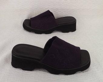vintage womens shoes, womens mules clogs, size 7 half M, chunky platforms, purple wedges, slip on sandals, Karen Scott shoes, peep toe shoes