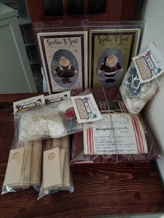"Doll Kits: ""Sophie & Pappa Claus"" SET  for doll patterns by Sparkles n Spirit"