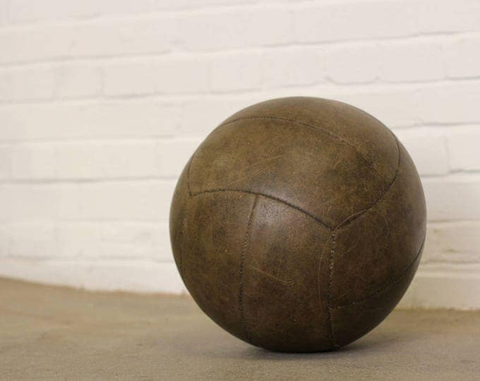 Large Early 20th Century French Leather Exercise Ball