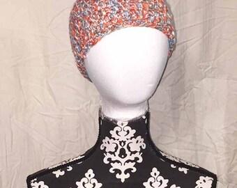 Crochet Blue Orange and Gray Messy Bun Hat/Ponytail Hat