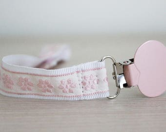 Pink Flowers Pacifier Clip, Soothie pacifier, Sweet pink clip, Binky Clips, Baby Girl pacifier clip, Paci Clip, Pacifier holder