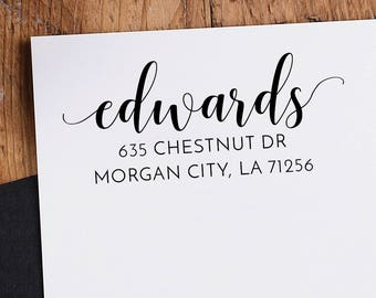 Return Address Stamp Custom Stamp Personalized Name Family Name Handle Mounted Rubber Stamp OR Pre-inked Stamp Self inking Stamp RE950