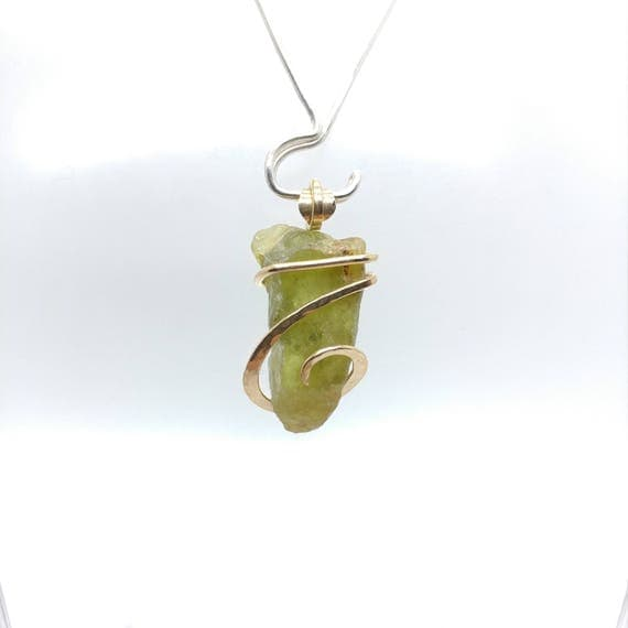 Raw Sphene Pendant | Green Crystal Pendant | 14kt Yellow Gold Filled | Raw Stone Pendant | Raw Titanite Necklace | Power Stone | Boho Luxe