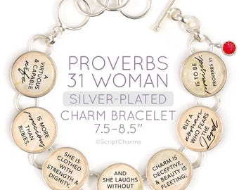 "Proverbs 31 Woman Glass Charm Scripture Bracelet with Swarovski Ruby-Red Rhinestone, 6.75""-8.75"""