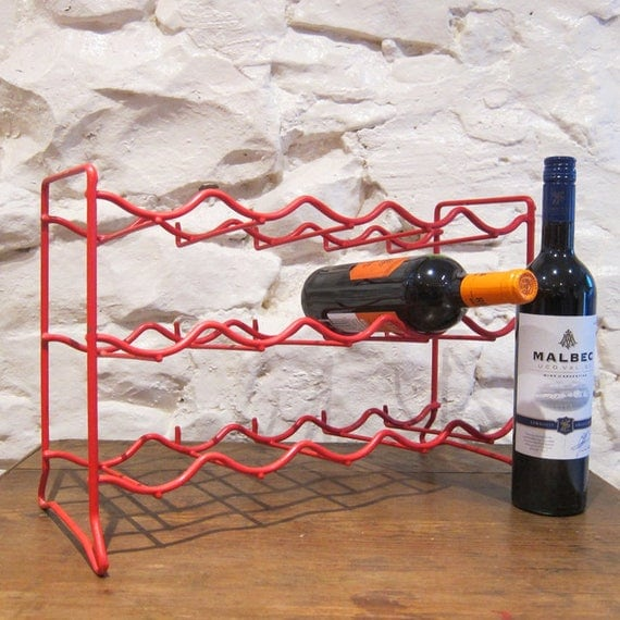 Kitchen Wine Rack Vintage Red Kitsch Bottle Holder