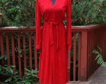 Bright Red Terrycloth Day Dress Tie Front Elastic Waist Long Sleeve 70s Jody of California