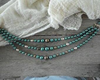 Vintage 50's Teal Black & Gold Beaded Triple Strand Choker Necklace
