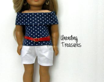 18 inch doll clothes made to fit like american girl doll clothes white jean shorts and navy with white pin dots off shoulder top