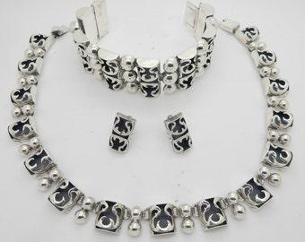 Vintage Signed Mexican Sterling Silver Necklace, Bracelet, Earrings Jewelry Set; sku # 3745; 3743; 3744