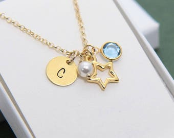 Star Necklace, Personalized Star Necklace, Initial Necklace, Gold Star Personalized Necklace, Birthstone Necklace, Christmas Gift for Her