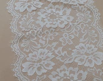 Ivory lace Trim, French Lace, Chantilly Lace Bridal Gown lace Wedding Lace White Lace Veil lace Scalloped lace Lingerie Lace BJL9002