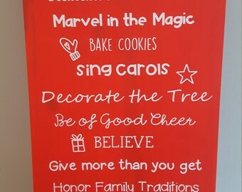Custom Family Name Christmas Rules Sign