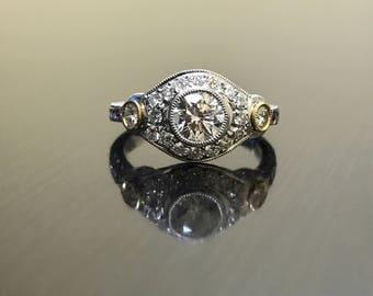 Art Deco Platinum 18K Yellow Gold Diamond Engagement Ring - Platinum Art Deco Diamond Wedding Ring - Engraved Platinum Ring - Diamond Ring
