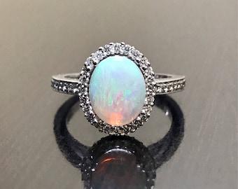 14K White Gold Art Deco Diamond Halo Opal Engagement Ring - Halo Diamond Opal Wedding Ring - 14K Halo Opal Diamond Ring - Diamond Opal Ring