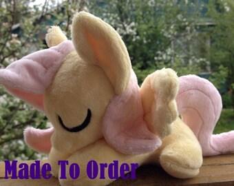 Sleepy Fluttershy Pony Plush Handmade Custom - Made To Order