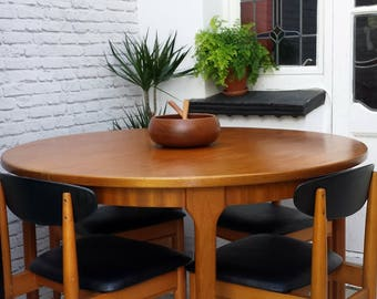 Mid Century Dining Set Extending Teak Table and 4 Chairs Ligna of Czechoslovakia
