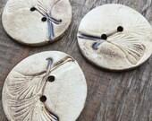 Ginkgo - Handmade Set Of 3 Ceramic Unique Buttons, Eash Button Is Original
