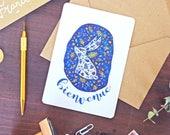 Welcome Baby Bunny Card - Rabbit Illustration Artprint - Free Shipping