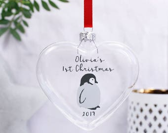 First Christmas Penguin Bauble - Penguin Bauble - Glass Bauble - Christmas Bauble Keepsake - 1st Christmas Keepsake - Babies First Christmas