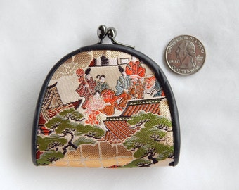 Leather And Silk Tapestry Coin Purse With Asian Scene
