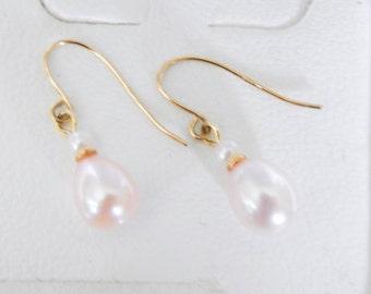 Pink Cultured Pearl Earrings 14K Gold Hooks - Vintage Never Used