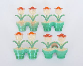 4 Vintage Plastic Curtain Tie Backs - Tulips In Pots