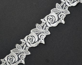 Flower Embroidered Lace Trim, 1-1/4 Inch by 2-yards, White, TR-11423