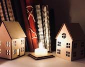 Little house, night light/lantern, Laser cut wood with warm glow LED